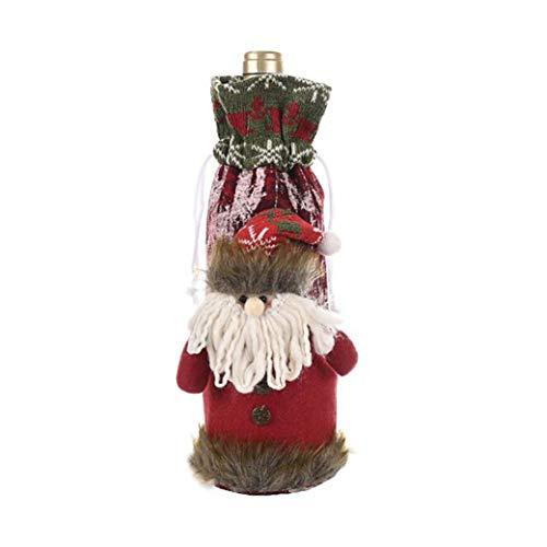 FSXZM Bolsa para botella de vino de Navidad, Papá Noel, muñeco de nieve, Alce de nieve, tapa de botella de vino con cordón para decoración de Navidad, Papá Noel rojo