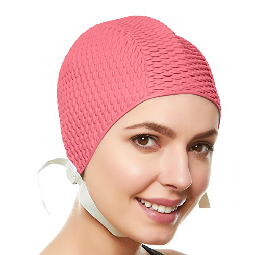 Beemo Swim Cap Women Chin Strap Swimming Caps- Pastel Pink