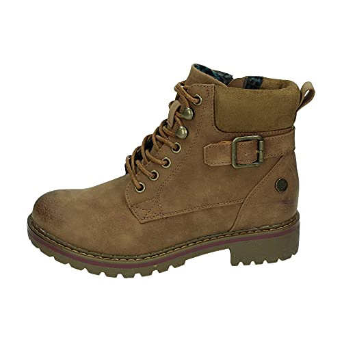 XTI Botín Militar BAS034468 para Mujer Marrón 36 (Ropa)