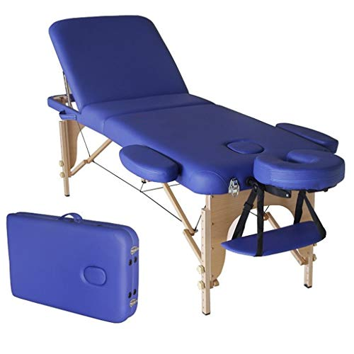 YCDJCS Mesa Plegable Mesa de Masaje de 3 Secciones Aluminio liviano Portátil Portátil Belleza de Belleza sofá con Bolsa de Transporte Sillas y taburetes (Color : Blue, Size : 186 * 60 * 50-78 cm)