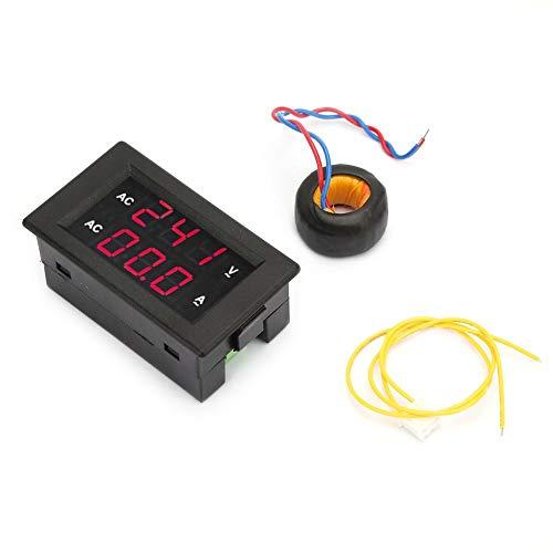 Multímetro 2 en 1 de alta precisión, LED, digital, voltímetro AC 100 ~ 300 V, pantalla dual, voltímetro, amperímetro 0 – 100 A (rojo rojo)