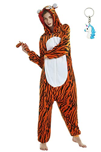 Landove Pijama de Una Pieza Adulto Unisexo Trajes Animales Mono Cosplay Kigurumi Onesie con Capucha Jumpsuit Romper Ropa de Dormir para Mujer Hombre Disfraz de Halloween Carnaval Navidad Festival