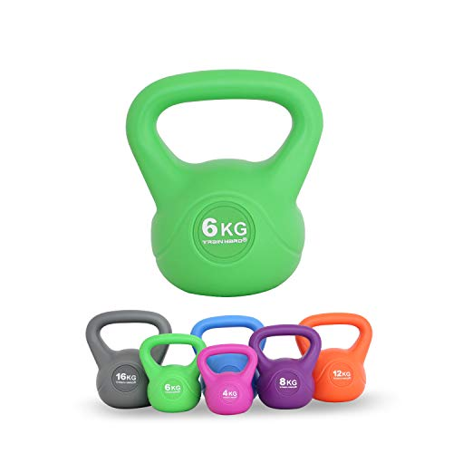 TrainHard Kettlebell 4-16 kg, Kugelhantel Kunststoff mit Zement Füllung in 6 Farbig, Studio-Qualität für Krafttraining Gymnastik und Heimtraining (6 KG - Gelbgrün)…