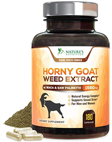 Horny Goat Weed Extra Strength 1560mg for Men & Women, Aids Natural Desire, Stamina & Strength with Maca, L-Arginine, Saw Palmetto & Tongkat Ali, Made in USA, Best Energy - 180 Capsules