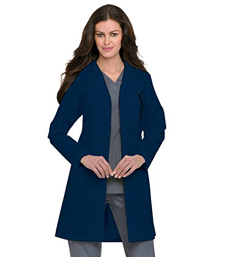 Landau Women's Professional 38 inch 3-Pocket Fitted White Medical Lab Coat, Navy, 6