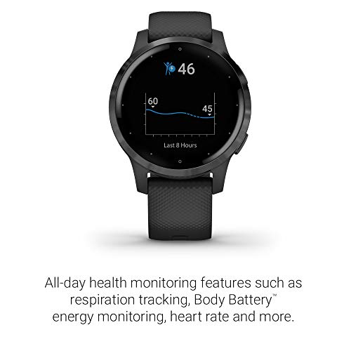 Garmin Vivoactive 4, GPS Smartwatch, Features Music, Body Energy Monitoring, Animated Workouts, Pulse Ox Sensors and More, Black