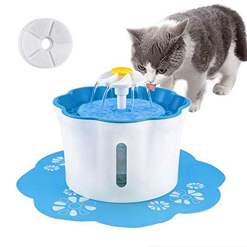 Price comparison product image Shinea Cat Water Fountain,  2.6L Automatic Cat Drinking Water Fountain Dog Water Dispenser Pet Fountain with 2 Replacement Filters 1 Silicone Mat for Cats Dogs and Other Animals