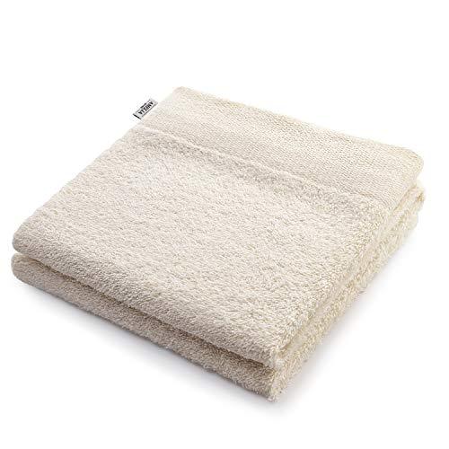 AmeliaHome Handtuch Ecru 50x100 cm 100% Baumwolle Qualität Saugfähig Creme Amari