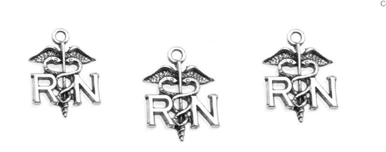 PlanetZia 6pcs Registered Nurse RN Charms USA Made for Jewelry Making TVT-D600 (Antique Silver)