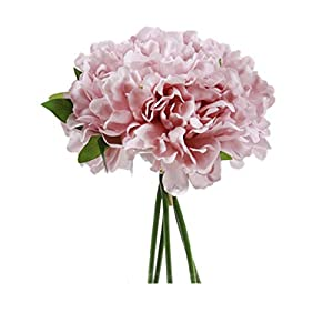 SN Decor Springs Flowers Artificial Silk 5 Heads Peony Bouquet Wedding Home Decoration, Pack of 1 (Mauve)