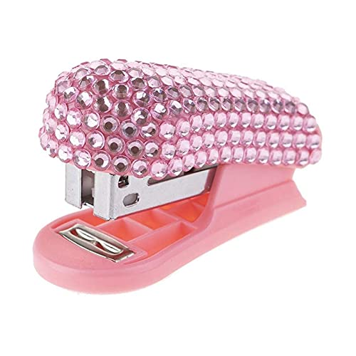 xinlianxin Mini grapadora con incrustación de diamante Mini grapadora pequeña grapadora de regalo rosa grapadora de oficina papelería suministros de estudiante (color: rosa)