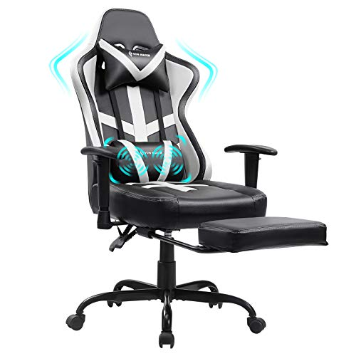 Von racer Massage Gaming Chair Racing Computer Desk Office Chair Swivel Ergonomic Executive Bonded Leather Chair with Headrest Footrest and Adjustable Armrests (White)