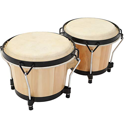 "MUSICUBE Bongo Drum Set, 2 Sets 6"" and 7"" Percussion Instrument, FSC Wood and Metal Drum for Kids Adults Beginners Professionals with Tuning Wrench"