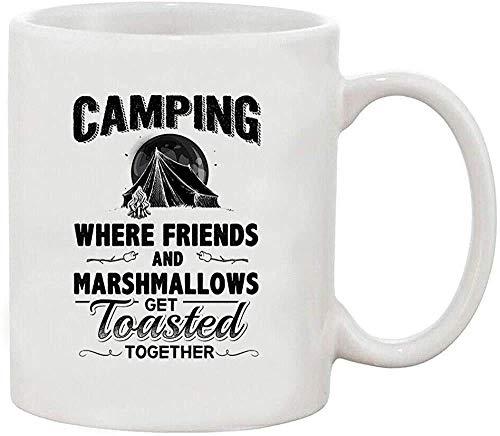 N\A Kaffeebecher 11oz-Keramikbecher, Camping, wo Freunde Marshmallows zusammen geröstet Werden Weißer Kaffee 11 Unzen Becher