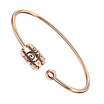 Essential Oil Diffuser Bracelet Aromatherapy 316L Stainless Steel Adjustable Rose Gold Bracelet with 4PCS Refill Sticks Retro Hollow Design Relaxation Bracelet Birthday Gift for Girls and Women