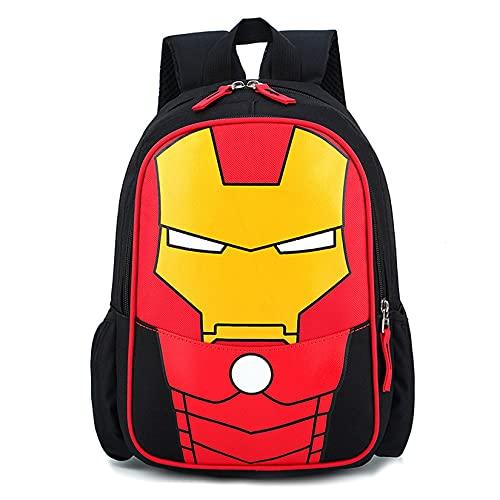 Zainetto per bambini per scuola materna, zaino per la scuola e la scuola, doppio strato rosso, impermeabile, Iron Man2., s