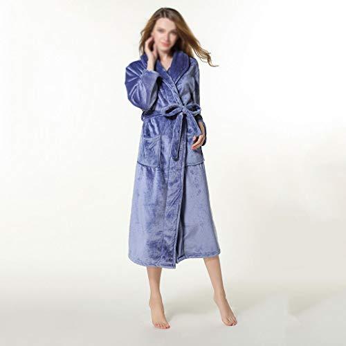 SCDZS Kimono de invierno grueso cálido para mujer, de forro polar coral, bata para parejas, camisón de baño, ropa de dormir grande (color: A, tamaño: grande)