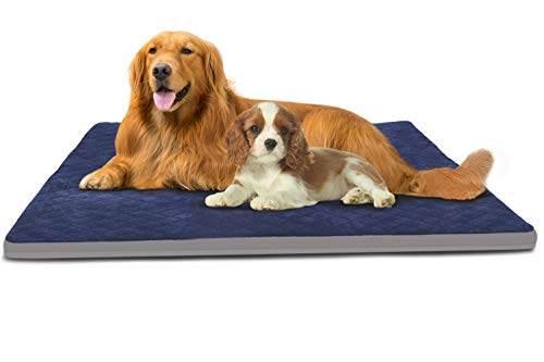 Large Dog Bed Jumbo Pet Beds Crate Pad Soft Dog Mats for Sleeping Washable Anti Slip Mattress with Removable Cover Blue, XL Categories