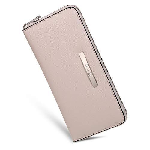 U+U Iphone Wallet Case for Women Zipper Wallet Clutch Soft PU Leather, Gift For Ladies, Grey