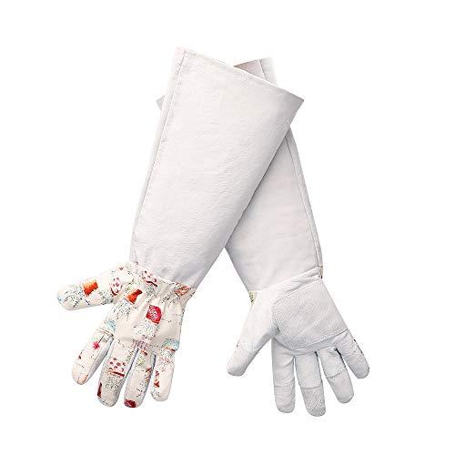 Worth Gartenhandschuhe Rosenhandschuh mit langem Unterarm und Ellenbogenschutz für Damen aus Schweinsleder Arbeitshandschuhe (1 Paar, Medium)