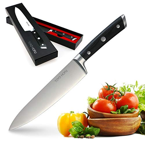 TOYO HOFU 8 inches Chef Kitchen Knife, Professional Razor Sharp Knife, German Stainless Steel, Anti Corrosion & Rust