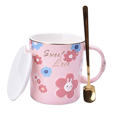 Taza de café o taza de té Taza de café de cerámica grande10.1 Taza de onza con tapa de cerámica de mango grande de tapa y cuchara  Para Latte Ppuccinosa, adecuado para damas Tazas de café novedosas