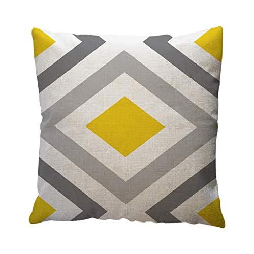 SHOBDW Bequemes Langlebig Baumwolle Leinen Quadratisch Kissenbezug Gelbe Geometrische Muster Dekokissen Kissenbezug Home Decor 45cm*45cm/18