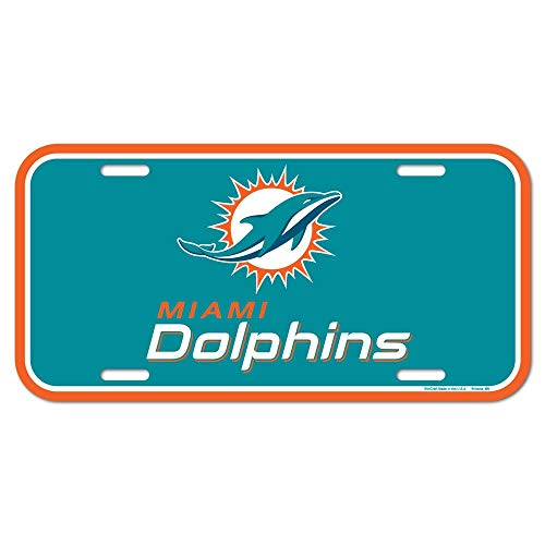 NFL Miami Dolphins License Plate, Team Color, One Size by WinCraft