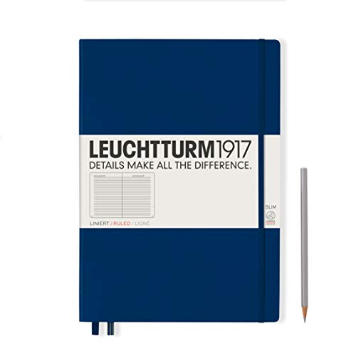 Leuchtturm1917,Notebook Master Slim, formato A4+, 121 pagine numerate a righe Navy