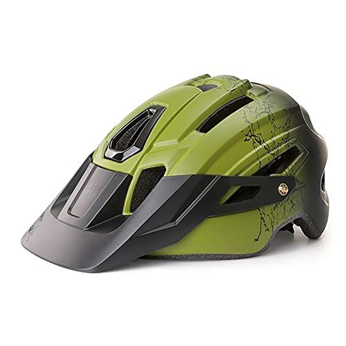 G&F Casco Bicicleta con Luz Led Visera Desmontable Carretera Montaña Ajustable Adulto Cascos Ciclismo para Hombres Mujeres (Color : Green, Size : 58-61)