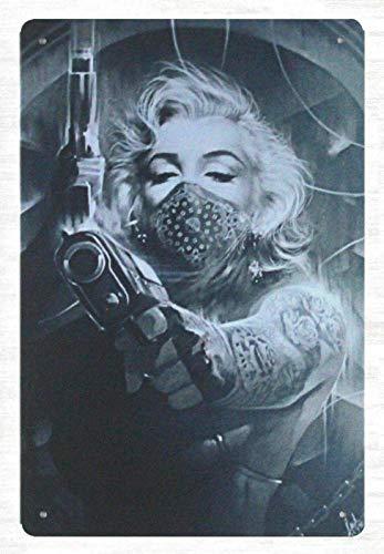 Anjoes Tin Metal Sign 8 x 12 - Wall Decor Stickers Marilyn Monroe Tattoos Gun tin Metal Sign