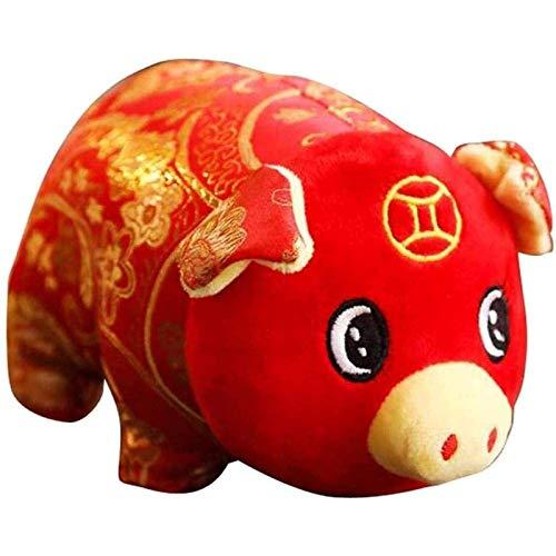 Rsntdk Lindo Juguete de Peluche de Cerdito Rojo, decoración del hogar, Juguete del Zodiaco, muñeco de Cerdo con Dinero, Juguete auspicioso y deseoso de 25 cm