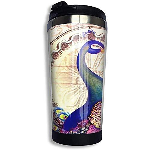 Yuanmeiju Taza de agua/café hombres/mujeres Travel Taza con tapa a prueba de derrames vaso aislado al vacío vintage colorido pavo real francés y flores Taza de café de acero inoxidable 13.