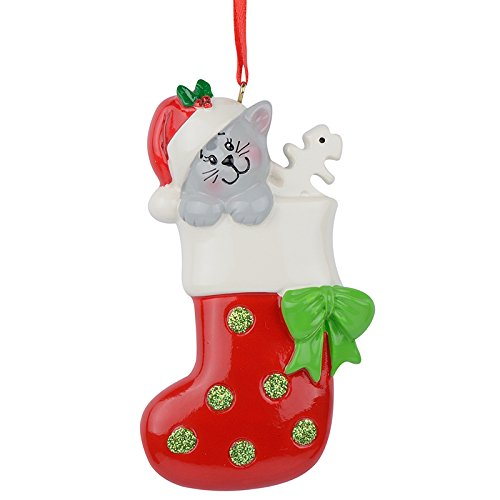Image of Colorful Personalized Christmas Cat in Stocking Ornament