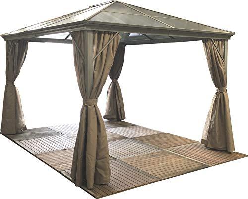 Luxury Swanbourne Garden Party Gazebo Hardtop Smoked Polycarbonate roof, 3m...