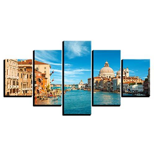 Canvas HD-prints foto's woonkamer muurkunst 5 stuks Venetië Italië landschap schilderijen water stad poster wooncultuur (geen frame) 20x35 20x45 20x55cm