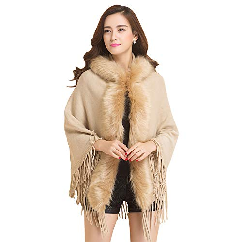 AHUIOPL Frauen Winter Poncho mit Kapuze Strickjacke Quaste Stricken Mantel lose warme weibliche Mantel dicken Poncho