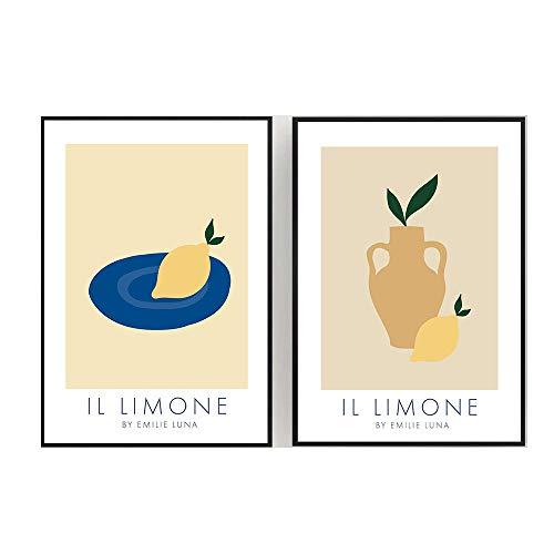 LTXMZ Zitronenvase Poster Zusammenfassung Obstmalerei Cartoon Bild Leinwand KüChe Wand Bilder Dekor Obst Bilder Wohnzimmer Wanddekoration 40x60cmx2 Kein Rahmen