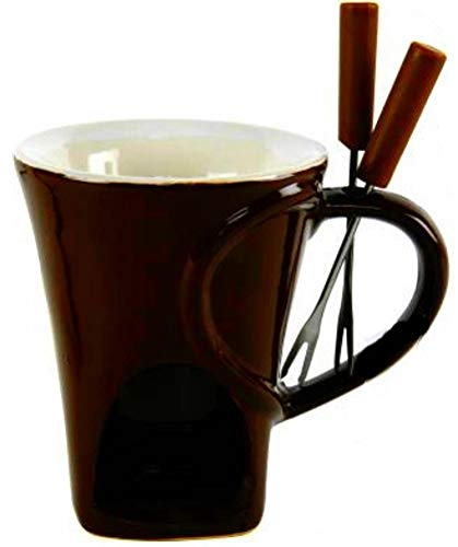marion10020 Schokoladenfondue-Set Schoko-Fondue Schokofondue Tasse, für 2 Personen, ca. 10 x 12,5 cm, aus Keramik, mit 2 Fondue-Gabeln, braun