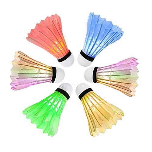 LED Badminton Set(6PACK Badminton Shuttlecocks Lighting Birdies Shuttlecock use Outdoor Games for Adults and Family and Glow in The Dark Games,Badminton Set of 6