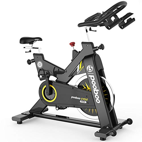 pooboo Exercise Bike Indoor Cycling Bike Stationary Bike-Belt Drive Cardio Bike with 44LBS Flywheel (gamboge)