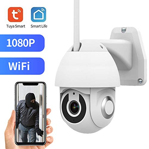 Jings Outdoor-WiFi-Kamera, Tuya 1080P HD 2MP PTZ IP-Kamera, Zwei-Wege-Audio Auto Tracking Tracking Nachtsicht IP66 wasserdichte Überwachungskamera
