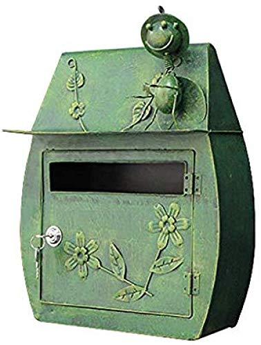 Post Box montado en la pared, Cajas por fuera montado en la pared Bloqueado Buzón Buzón decorativo al aire libre Hoja de galvanizado material hecho a mano del hierro-bronce, bronce (Color : Gr