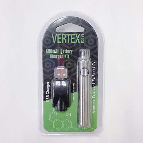 大容量 電子タバコ CBD用 ペン型 ヴェポライザー用バッテリー VERTEX 650VV (USB充電器付き) シルバー