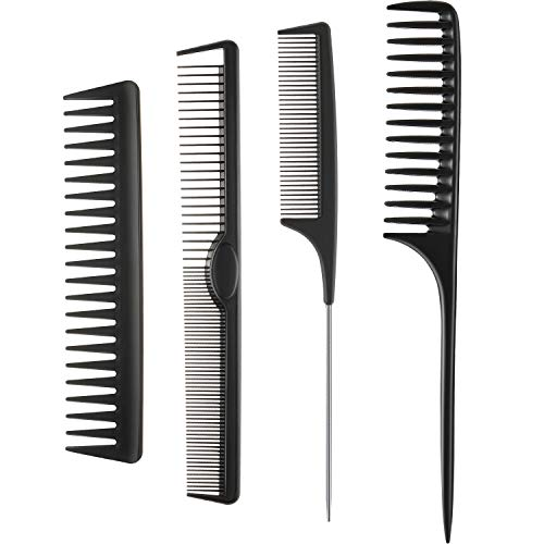 4 Pieces Styling Comb Set Rat Tail Comb Carbon Fiber Fine Cutting Comb Wide Tooth Detangling Comb Stainless Steel Pintail Comb Anti Static Heat Resistant Barber Comb