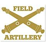 Custom Army Crossed Cannons with Field Artillery Vinyl Decal Sticker, Military Crossed Cannons, Military Insignias, Cannons Cross, personalized for Car Windows, Tumbler Cups, Laptops. Solid Color Size