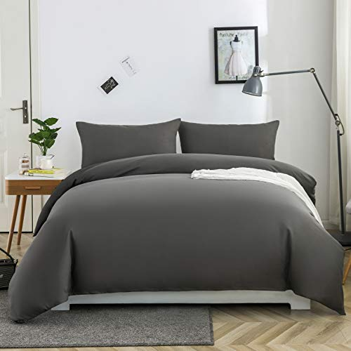 MOHAP Zippered Duvet Cover Set 3 PCS Double Plain Brushed Microfiber Bedding Duvet Cover with Pillowcases (Grey)