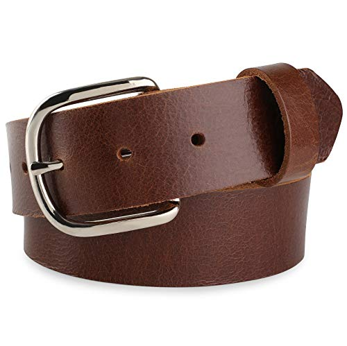 """Full grain Leather Belt, w/Snaps for Interchangeable Buckles,Mens Belts,1-1/2"""" wide, Made in USA,tan,size 40, 5000BUK"""