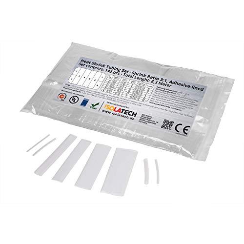 Set di 142 pezzi di tubo termorestringente 3:1 transparente con colla interna. Lunghezza totale di 8,3 m in un sacchetto di polietilene. Da ISOLATECH