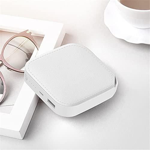 GLNuoke Power Bank Mini Power Bank 10000 mAh Cargador portátil Powerbank Batería externa Poverbank 10000 mAh para Xiaomi Mi iPhone 12 Power Bank (color blanco con cordón)
